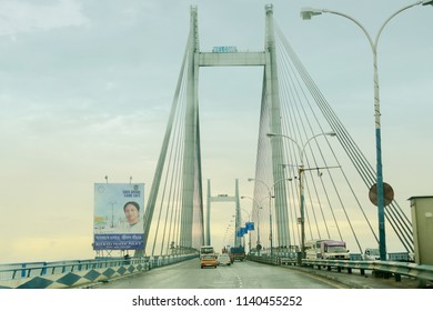 HOWRAH, WEST BENGAL , INDIA - AUGUST 7TH 2016 : Vidyasagar Setu (Bridge) over river Ganges, 2nd Hooghly Bridge. Connects Howrah and Kolkata, Longest Cable - stayed bridge in India.