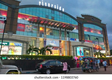 HOWRAH, WEST BENGAL , INDIA - JULY 8TH 2018 : Avani Riverside Mall, supermarket loacted at Shibpur of Howrah, shines beautifully under evening sky. It is huge retail store for common people.