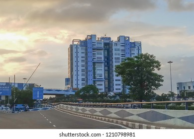 HOWRAH, WEST BENGAL , INDIA - JULY 8TH 2018 : Nabanna, building in Howrah, houses the State Secretariat of West Bengal. Office of the respected Chief Minister, Smt. Mamata Banerji