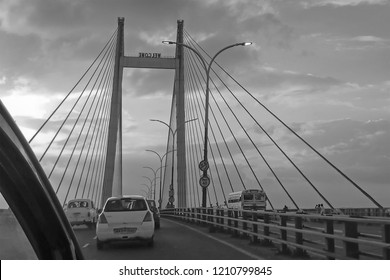HOWRAH, WEST BENGAL , INDIA - JULY 8TH 2018 : Vidyasagar Setu (Bridge) over river Ganges, 2nd Hooghly Bridge. Connects Howrah and Kolkata, Longest Cable - stayed bridge in India. B&W image.