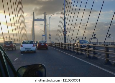 HOWRAH, WEST BENGAL , INDIA - JULY 8TH 2018 : Vidyasagar Setu (Bridge) over river Ganges, 2nd Hooghly Bridge. Connects Howrah and Kolkata, Longest Cable - stayed bridge in India. Dramatic sky.