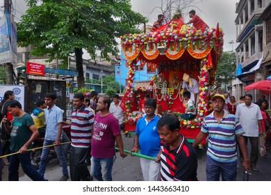 Howrah, West Bengal, India - July 22nd 2018 : Decoated Rath, chariot, of God Jagannath, Balaram and Goddess Suvadra on the street. Famous Rath jatra festival.