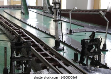 "Howrah, West Bengal/India - July 9, 2019:  Old vintage miniature railway track or railway line model with selective focus display for public, at ""Rail Museum"" Howrah, West Bengal 711101."