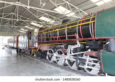 "Howrah, West Bengal/India - July 9, 2019:  Old Vintage first class railway coach engine and head display of a vintage locomotive for public, at ""Rail Museum"" Howrah, West Bengal 711101."