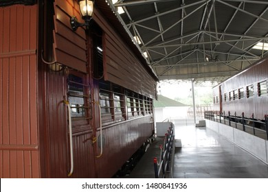 "Howrah, West Bengal/India - July 9, 2019:  Old Vintage railway coach engine and body display of a vintage locomotive under a shade for public, at ""Rail Museum"" Howrah, West Bengal 711101."
