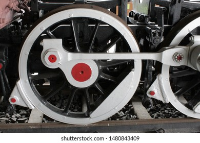 "Howrah, West Bengal/India - July 9, 2019:  Old Railway wagon's Wheels in display on rail track for public, at ""Rail Museum"" Howrah, West Bengal 711101."