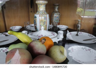 "Howrah, West Bengal/India - July 9, 2019:  Old Vintage fruits decoration display and dining from outside of a vintage locomotive for public, at ""Rail Museum"" Howrah, West Bengal 711101."