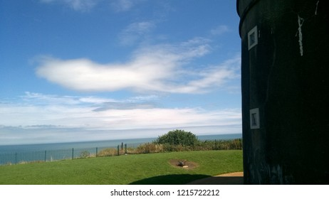 Howth - Co. Dublin / Ireland - August 2. 2018: A look at the Irish sea besides Martello tower in Howth - Northern Dublin.