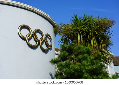 HOWTH, IRELAND -27 JUL 2019- View of the Olympic Federation of Ireland (OFI), the building of the National Olympic Committee of Ireland located in Howth Harbour near Dublin, Ireland.