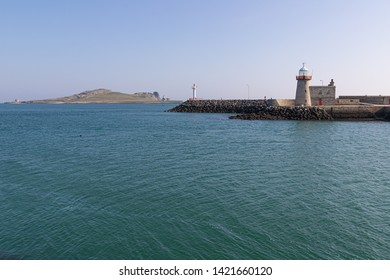 Howth Lighthouse with Ireland's Eye Island in background, Howth, Dublin, Ireland