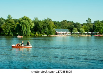 Hoxfeld, North Rhine-Westphalia / Germany - September 02, 2018: pedal boating in the leisure and recreation park Pröbsting Lake