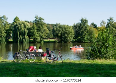 Hoxfeld, NRW / Germany - September 02, 2018: Family excursion by bike on the weekend to Pröbsting lake