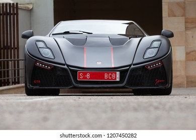 Hoznayo, Cantabria, Spain - September 21, 2018: meeting of supercar cars. The GTA Spano is a two-seater rear-wheel drive that uses materials and technology from the aeronautical industry.