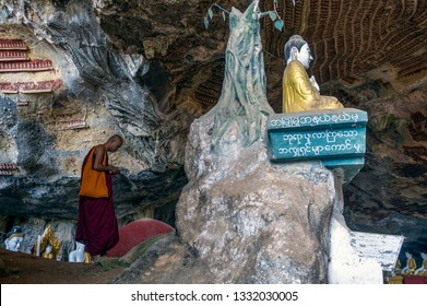 Hpa An. Myanmar. 12/12/2016. Monk at Kaw Gon cave