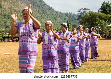 Hpa An, Myanmar - January 06, 2019 : Unidentified Karen with traditional dressing are dancing on the Karen new year celebration near  border opposite  THA Song Yang District Thailand, Hpa An.