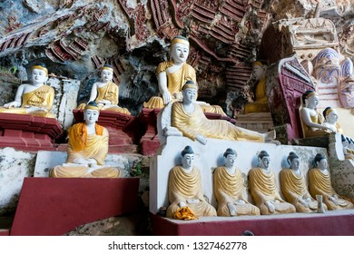 HPA-AN, MYANMAR - 19 NOVEMBER, 2018: Wide angle picture of a plenty of Buddha statues at Kaw Goon Cave in Hpa-An, Myanmar