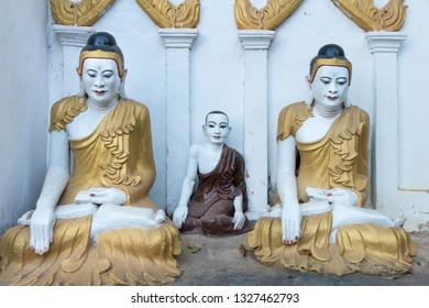 HPA-AN, MYANMAR - 19 NOVEMBER, 2018: Horizontal picture of beautiful Buddha statues at Kaw Goon Cave, important landmark of Hpa-An, Myanmar