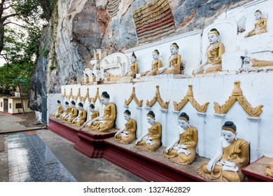 HPA-AN, MYANMAR - 19 NOVEMBER, 2018: Horizontal picture of the exterior of Kaw Goon Cave, landmark of Hpa-An, Myanmar