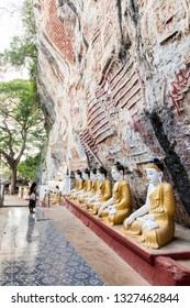 HPA-AN, MYANMAR - 19 NOVEMBER, 2018: Vertical picture of the exterior of Kaw Goon Cave, landmark of Hpa-An, Myanmar