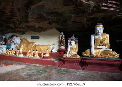 HPA-AN, MYANMAR - 19 NOVEMBER, 2018: Horizontal picture of the interior of Kaw Goon Cave, landmark of Hpa-An, Myanmar