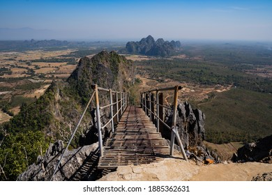 HPA-AN, MYANMAR - January 12, 2020: Looking down the rickety stairway on the hike up to the Taung Wine Pagoda.