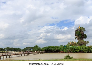 HPA-AN , OCTOBER 21, Kyauk Ka Lat Pagoda which is built on layers of natural rock formations and surrounded by artificial lakes 21-October-2016 in Hpa-An , Myanmar :