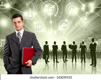 HR concept. Business man choosing the employee