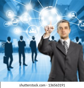 HR concept. Business man push the button on virtual touch pad