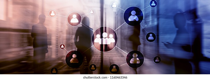 HR - Human resources management concept on blurred business center background.