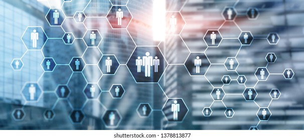 HR, Human Resources, Recruitment, Organisation structure and social network concept.