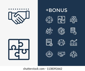 Hr icon set and conflict management with savings plan, record keeping and team morale. Progress related hr icon  for web UI logo design.