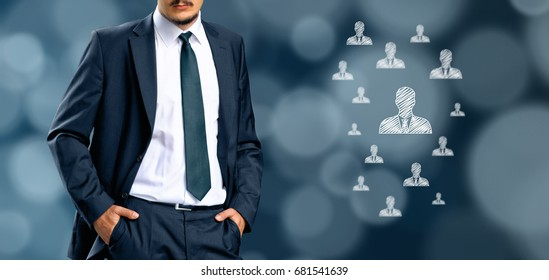 HR managementor marketing customer segmentation concept. Businessman silhouette in bacground. Manager thinks about employees or customers.