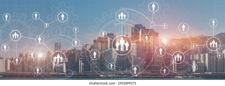 HR Recruitment Structure Global Outsourcing Social network communication concept. Modern City view panoramic website header banner double exposure