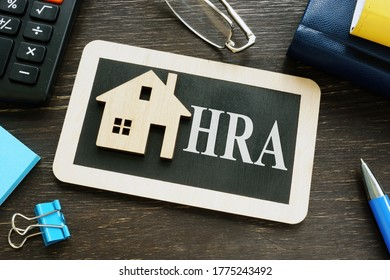 HRA house rent allowance word and small home. - Shutterstock ID 1775243492