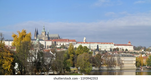 Hradcany - Prague castle and St Vitus cathedral - spacious historic area dominantly located above the town