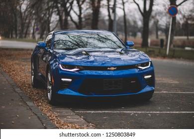 HRADEC KRÁLOVÉ, CZECH REPUBLIC - DECEMBER 6, 2018: Clean Chevrolet Camaro SS 2018 in outdoor after car detailing