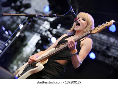 HRADEC KRALOVE, CZECH - JULY 6: Bass guitarist and singer Charlotte Cooper of The Subways during performance on festival Rock for People in Hradec Kralove, Czech republic, July 6, 2010.