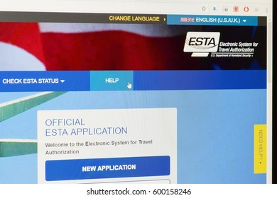 Hradec Kralove, Czech Republic 10.3.2017.  ESTA - Electronic system for travel authorization. Official website on computer screen. Permission for traveling to the USA. Illustrative editorial.