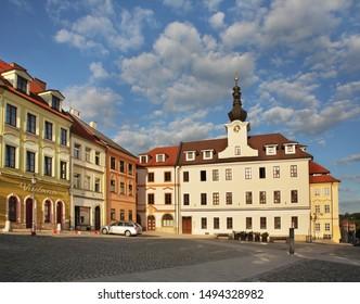 HRADEC KRALOVE. CZECH REPUBLIC. 28 AUGUST 2017 :  Small square (Male namesti) in Hradec Kralove. Czech Republic