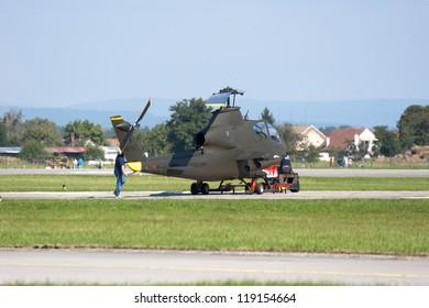HRADEC KRALOVE, CZECH REPUBLIC - SEPT 9: Bell AH-1S COBRA in Czech International Air Fest Air Show at airfield in Hradec Kralove, Czech Republic on September 9, 2012