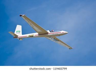 HRADEC KRALOVE, CZECH REPUBLIC - SEPT 9: Glider Marganski Swift S-1 in Czech International Air Fest Air Show at airfield in Hradec Kralove, Czech Republic on September 9, 2012