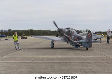 HRADEC KRALOVE, CZECH REPUBLIC - SEPTEMBER 5: World War II Soviet fighter Yakovlev Yak-3 on runway at the CIAF - Czech international air fest on September 5, 2015 in Hradec Kralove, Czech republic.