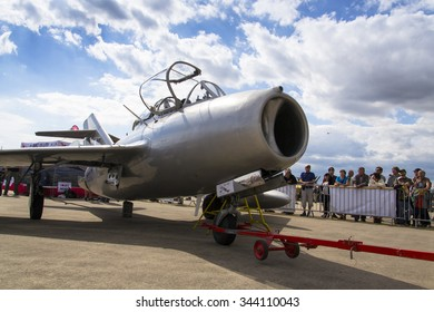 HRADEC KRALOVE, CZECH REPUBLIC - SEPTEMBER 5: Jet fighter aircraft Mikoyan-Gurevich MiG-15 developed for the Soviet Union standing on runway on September 5, 2015 in Hradec Kralove, Czech republic.