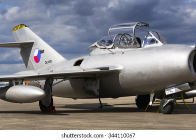 HRADEC KRALOVE, CZECH REPUBLIC - SEPTEMBER 5: Jet fighter aircraft Mikoyan-Gurevich MiG-15 developed for the Soviet Union standing on runway on September 5, 2015 in Hradec Kralove, Czech republic.