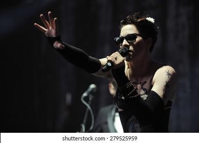 HRADEC KRALOVE - JULY 2: American singer Amanda Palmer during her performance at festival Rock for People in Hradec Kralove, Czech republic, July 2, 2013.