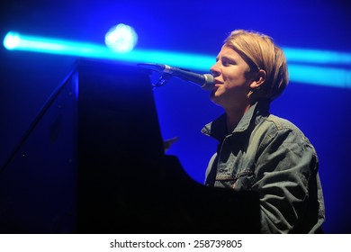HRADEC KRALOVE - JULY 3: English singer Tom Odell during his performance at festival Rock for People in Hradec Kralove, Czech republic, July 3, 2014.