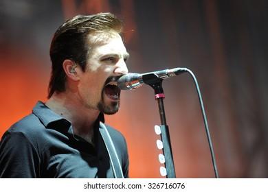 HRADEC KRALOVE - JULY 3: Singer and guitarist Adam Grahn of Royal Republic during performance at festival Rock for People in Hradec Kralove, Czech republic, July 3, 2015.