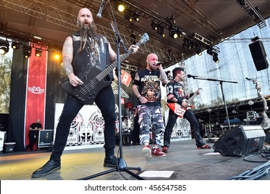HRADEC KRALOVE - JULY 4: Chris Kael (L), Ivan Moody (M) and Jason Hook (R) of Five Finger Death Punch during performance at festival Rock for People in Hradec Kralove, Czech republic, July 4, 2016.