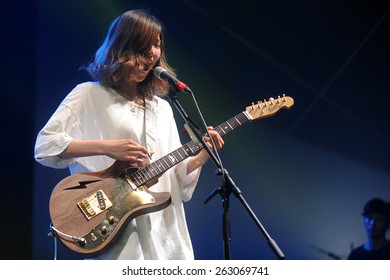 HRADEC KRALOVE - JULY 4: Singer Ikkyu Nakajima of Tricot band during performance at festival Rock for People in Hradec Kralove, Czech republic, July 4, 2014.