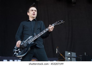 HRADEC KRALOVE - JULY 5: Singer and guitarist Justin Sane of Anti-flag during performance at festival Rock for People in Hradec Kralove, Czech republic, July 5, 2016.